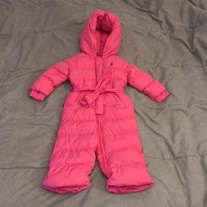 Ralph Lauren Girls Pink Snowsuit Size 18m EUC